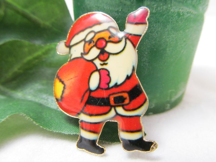 Pretty Older Vintage Christmas Santa Claus Shaped Gold tone Pin Featuring  Red Green Black and Cream Baked Enamel Christmas Pin Santa Pin
