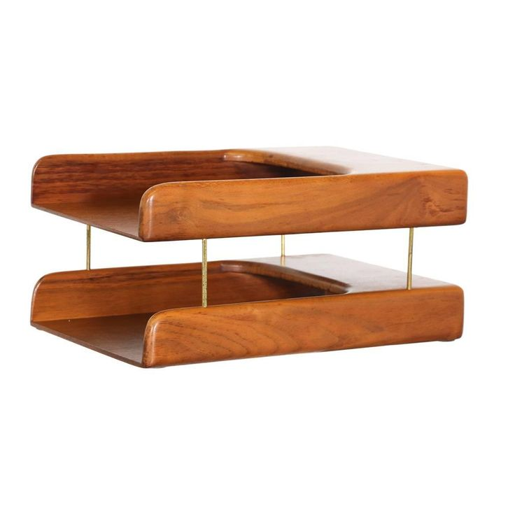 Midcentury Walnut and Brass Paper Tray Holder | From a unique collection of antique and modern desk accessories at https://www.1stdibs.com/furniture/decorative-objects/desk-accessories/