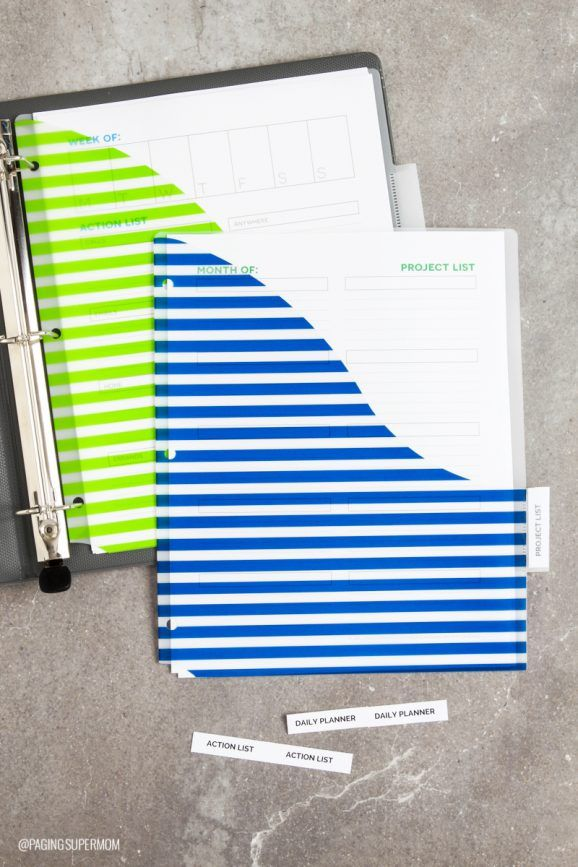 Organize your life with this daily planner designed for moms from @PagingSupermom. Inside her binder, she uses Avery Big Tab Plastic Dividers with Pockets so she can store extra action lists and project pages. Keep the current one in a clear sheet protector in front of the pocket, and the current week's action list is the first page in the binder so it's easy to refer back to.