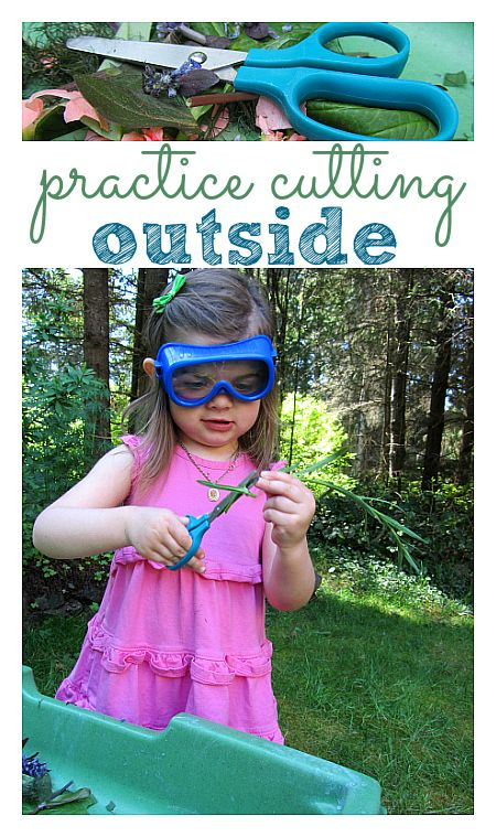 Cutting practice is an important pre-writing activity. Take it outside!