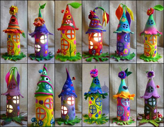 felted fairy lamp, bedside lamp, night light, handmade ...