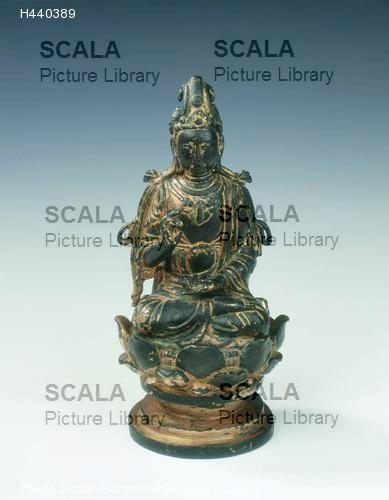 Arte cinese Statua in bronzo dorato di Bodhisattva seduto su un loto, dinastia Liao, Cina, metà secolo XI.