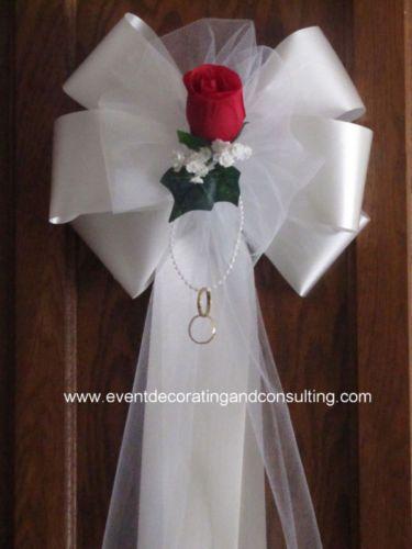RED ROSE WHITE Satin Ribbon Pew Bows for Weddings