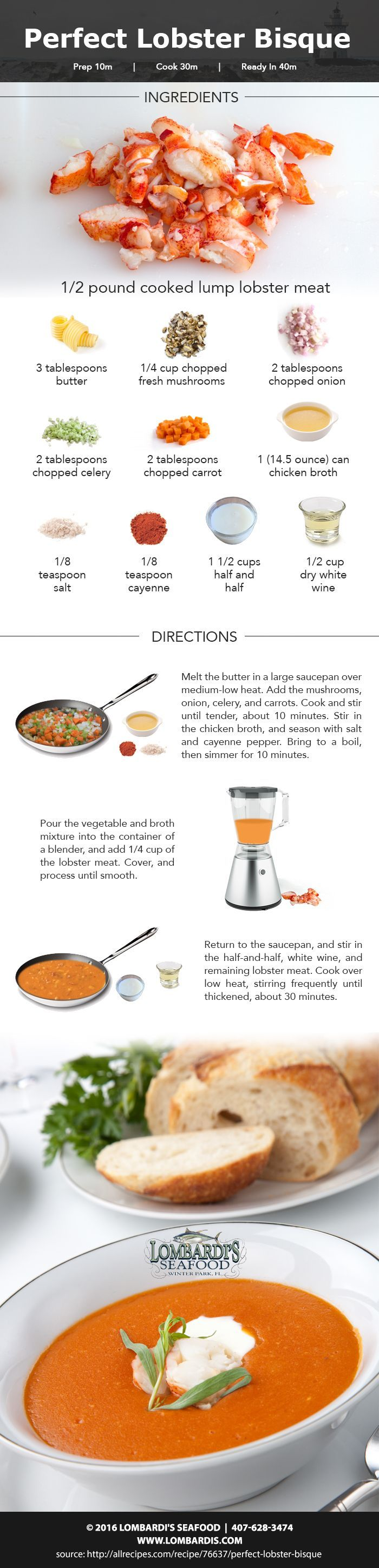 Lombardi's, who has the best Orlando seafood, shares a lobster bisque recipe that is sure to delight everyone's taste buds. Stop by today for your ingredients!