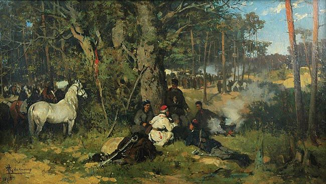 The Camp of the Insurgents in the Forest  by Tadeusz Ajdukiewicz