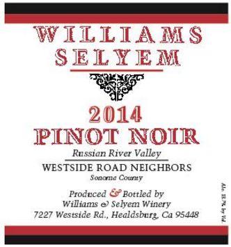 2014 Williams Selyem Pinot Noir Westside Road Neighbors