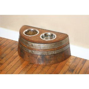 Raised Dog or Cat Food Bowl Made From Recycled Wine Barrel By Wine Barrel Creations- I bet Chad could make me one