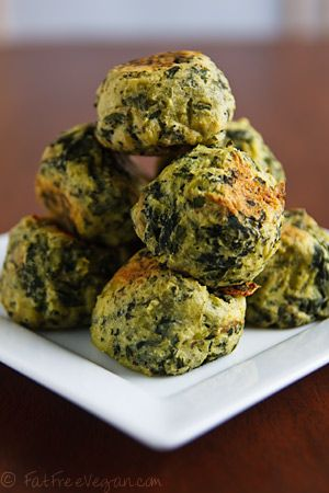 Colcannon Puffs (Kale & Potato) 1 1/2 pounds potatoes 6 ounces kale 2 tablespoons nutritional yeast 2 teaspoons salt (or to taste) 1 teaspoon onion powder 1/2 teaspoon garlic powder 1/2 teaspoon thyme 1/4 teaspoon freshly ground black pepper 2 tablespoons soymilk 2 tablespoons potato starch or corn starch