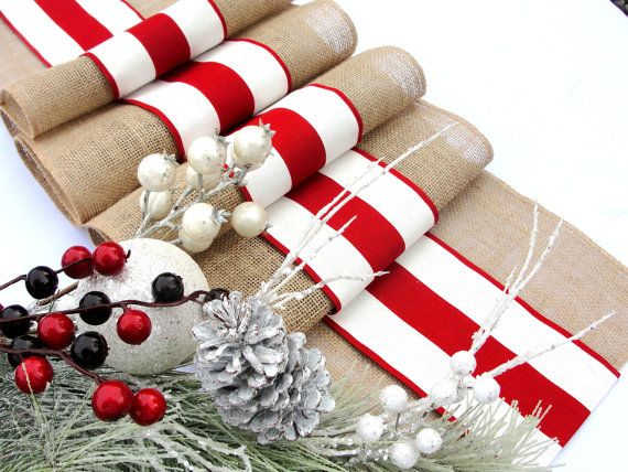 Christmas Table Runner  Winter Table Decor  Read and White