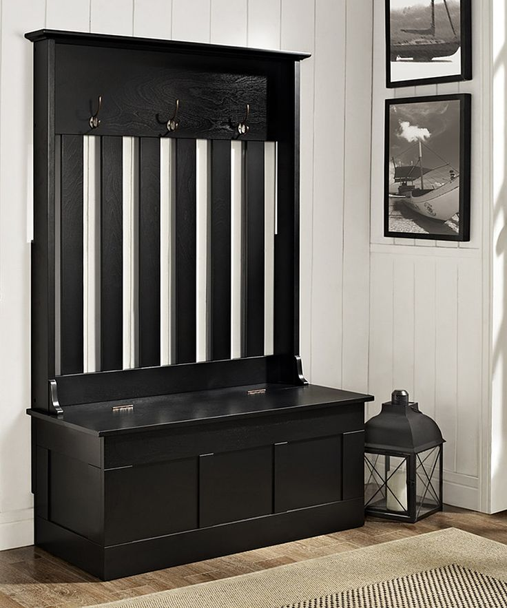 Black Ogden Entryway Hall Tree/Storage Bench