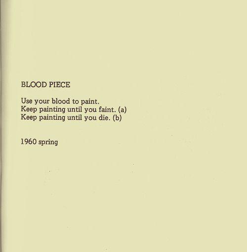"""yoko ono """"blood piece"""""""