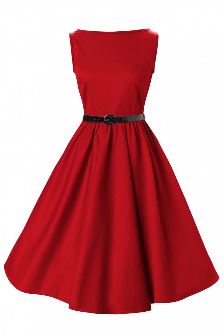 FREE SHIPPING cotton dress pin up dresses bridemaids party retro style 50s clothes prom evening mid calf long red blud $29.00