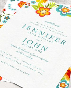 Beautiful White Background With Colorful Floral Pattern Free Printable Wedding Invitation Template