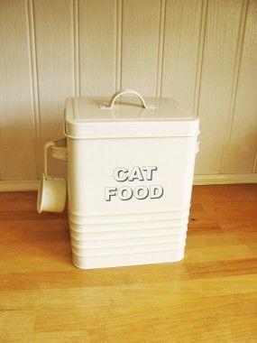 Vintage Style Cream Enamel Cat Food Tin