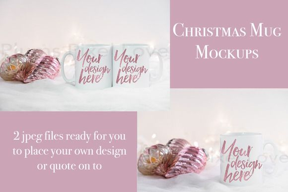 2 Christmas styled stock mug mockups by Plums Pixel Love on @creativemarket