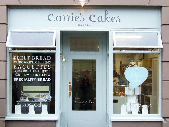 Carrie's Cakes graphic design of a logo and the development of exterior and interior signage for the bakery