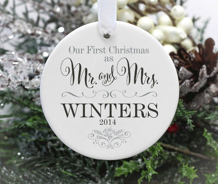 Our First Christmas Married Wedding Ornament, 1st Christmas as Mr. And Mrs. by 33marketstreet on Etsy https://www.etsy.com/listing/251907756/our-first-christmas-married-wedding