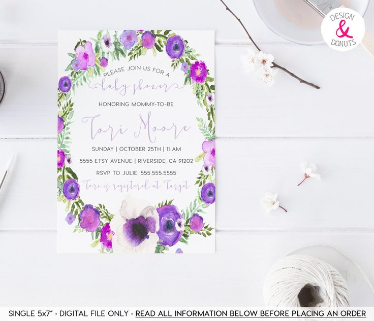 Lavender Baby Shower, Purple, Boho, Flowers, Printable, Girl Baby Shower Invitation [96] by DesignAndDonuts on Etsy https://www.etsy.com/listing/248645475/lavender-baby-shower-purple-boho-flowers