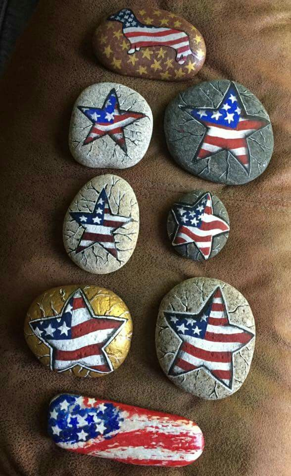 Patriotic flag painted rocks