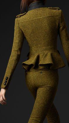 Burberry Prorsum wool tweed peplum hunting jacket 2