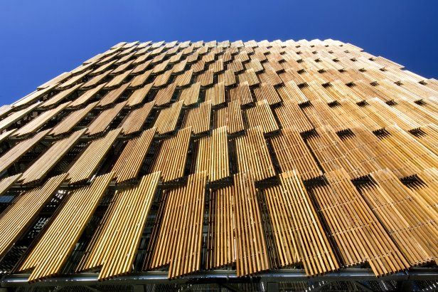 Operabe wood louver facade. CH2 Melbourne City Council House 2.