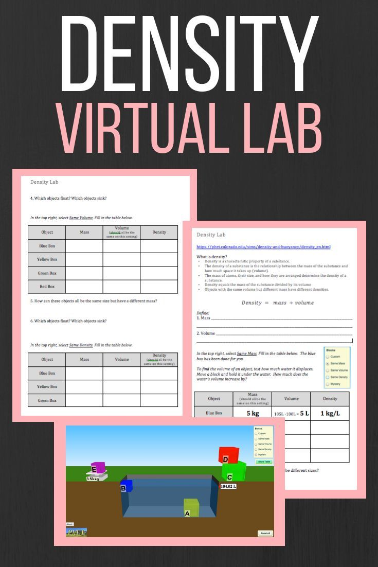 Virtual Density Lab Science Teaching Resources Middle School Science Class Density Lab