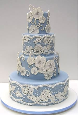 Blue & White Wedding Cake by Colette's Cakes