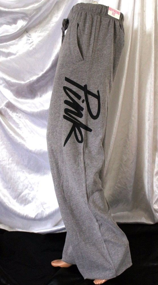 Victoria Secret PINK Sweatpants Small S Heather Gray Baggy Boyfriend Fit Script #VictoriasSecret #TrackSweatPants