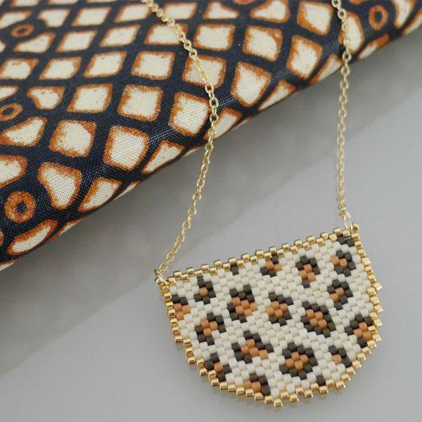 Sautoir Animal motif Léopard en tissage de perles Miyuki
