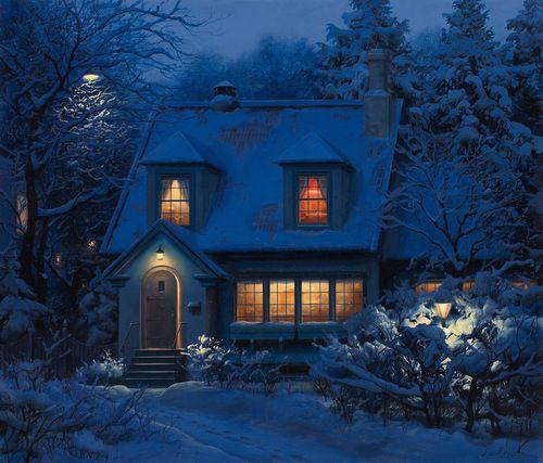 perfect.Evgeni Lushpin, Fathers Christmas, The Artists, Winter Wonderland, Night Looks, Night Time, Thomas Kinkade, Low Lights, Little Cottages