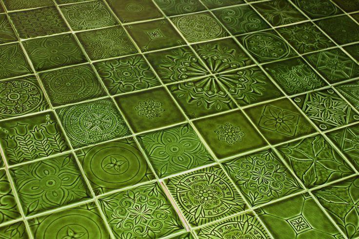 Zöld kézműves csempék