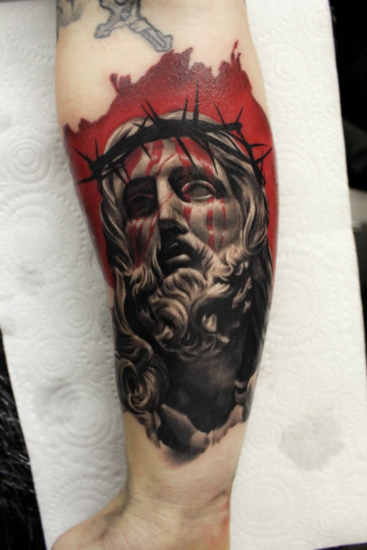 Jesus sculpture tattoo by ash higham at rapture studio for Shave before tattoo