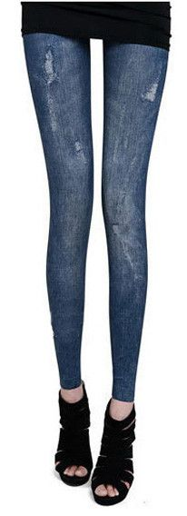 Spring Summer Casual Slim Thin Nine Fitness Jeans Leggings Denim Printed Leggings For Women Leggins Lady Pencil Pants Xy3729