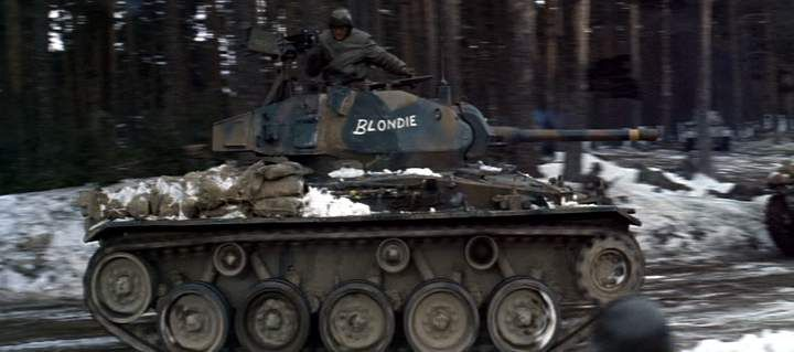 Spanish Army M24 Chaffee pretending to be an American M4 Sherman in the movie Battle of the Bulge