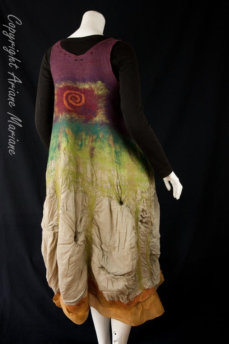 Wearable fiber art dress on Etsy