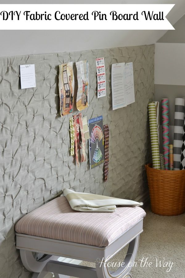How to Make a DIY Fabric Covered Pin Board Wall for Less Than $25: Cool!  I'm thinking of corking an entire wall, but this is neat, too.