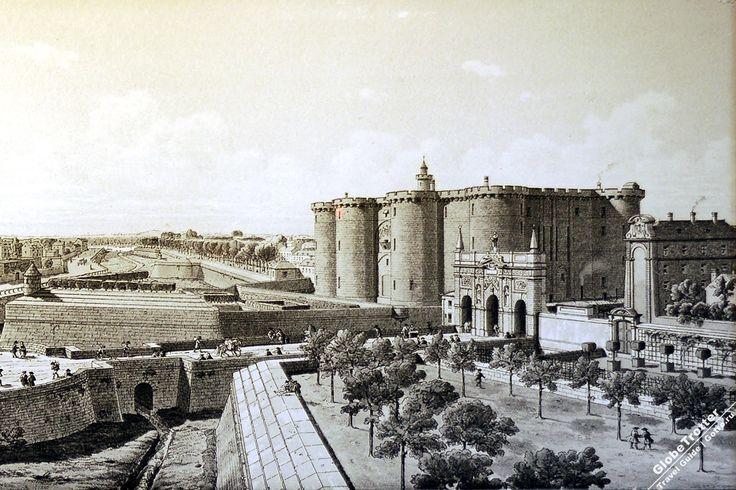 Бастилия и ворота Сен-Антуан с северо-востока, 1715-19 года Paris Bastille old paint https://gotro.ru