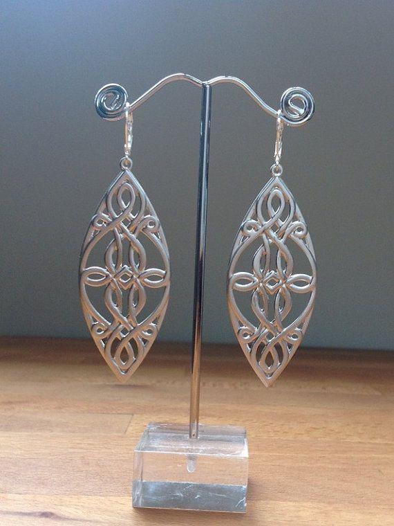 Long matte silver celtic earrings by PetalJewels on Etsy