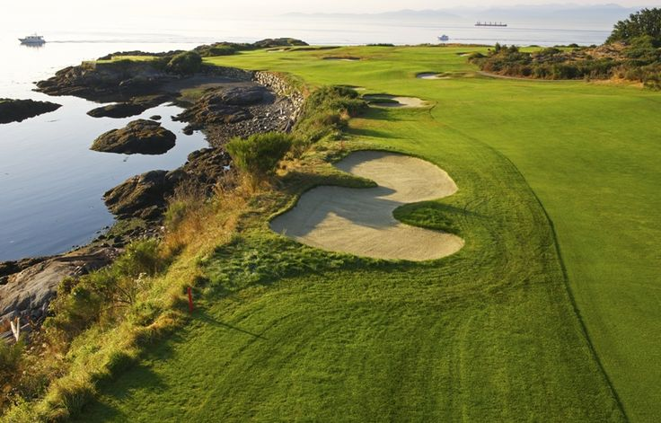 © VGC   Hole 7   Mount Baker   VGC's signature hole begins the trip around 'The Point'. It was played as a par-three for decades before being lengthened in 1976 to a challenging par-four with an oceanside hazard running the length of the hole on the left. Ben Hogan called the undulating green one of the most difficult he had ever encountered - after his putt rolled off the opposite fringe and on to the beach. #golf #golfcourse #westcoast #yyj #victoriagolfclub