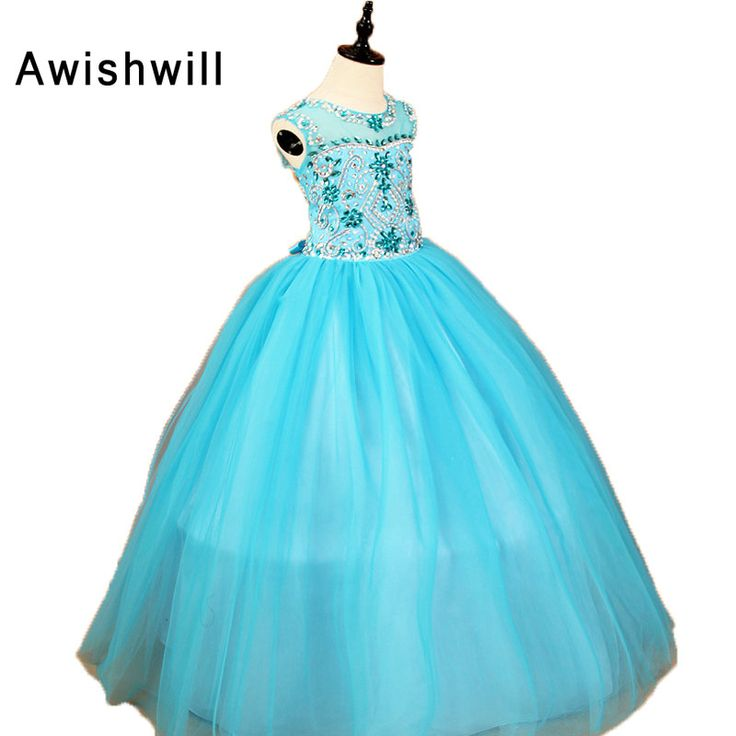 First Communion Dresses for Girls Ball Gown Floor length Rhinestone Beaded Tulle Sleeveless Children Pageant Gown. Click visit to buy #WeddingPartyDress #wedding #party #dress