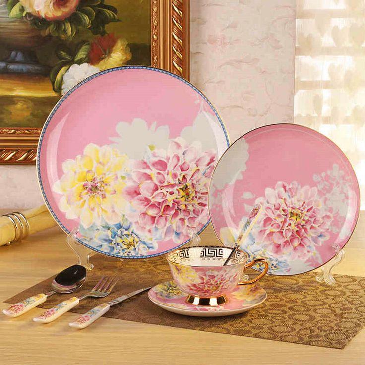 Coreano Juego de Vajilla Vajilla de China de Hueso Platos Y Platos De Cerámica Vajillas de Porcelana Cuchara(China (Mainland))