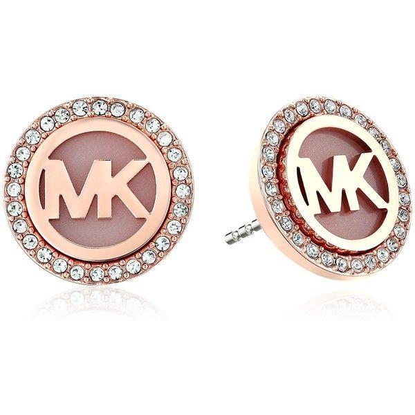 Michael Kors MK Logo Stud Earrings ($75) ❤ liked on Polyvore featuring jewelry, earrings, logo jewelry, michael kors, studded jewelry, pave jewelry and rose gold tone earrings