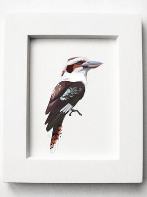 Geometric illustration, Kookaburra, Bird print, Original illustration by TinyKiwi