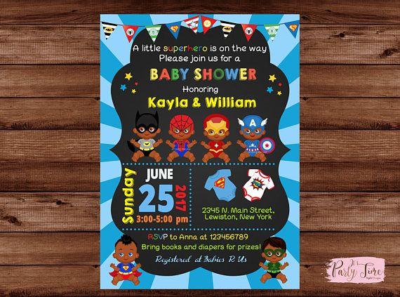 African American Superhero Baby Shower Invitation  Superhero Baby Shower  Invitation   Super Baby Shower Invitation   Baby Shower Invitation