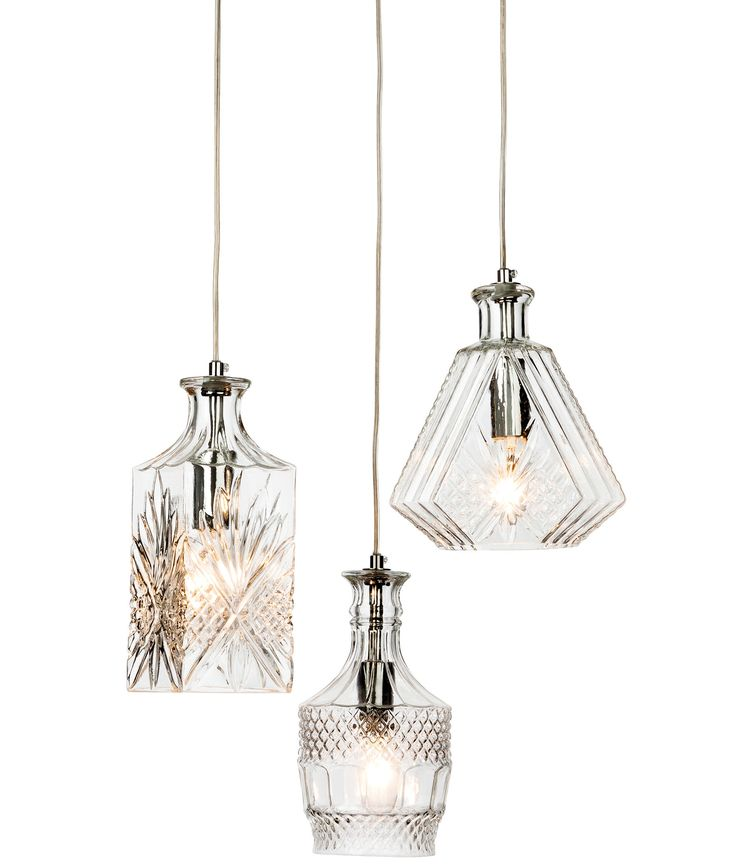 Firstlight decanter 3 light ceiling pendant chrome with glass shades