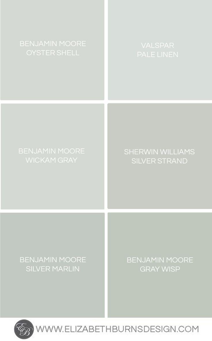 Elizabeth Burns Design - Benjamin Moore Oyster Shell, Valspar Pale Linen, Benjamin Moore Wickam Gray, Sherwin Williams Silver Strand, Benjamin Moore Silver Marlin, Benjamin Moore Gray Whisp