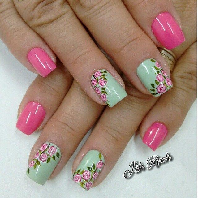 pink & mint floral Instagram media by jehhhrech
