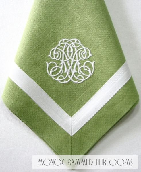 Cotton tape linen dinner napkin with custom RX monogram