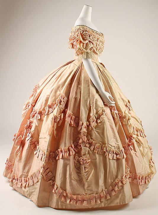 Ballgown, ca 1860. Poofy pink heaven! - can you imagine having to iron all that ruching?