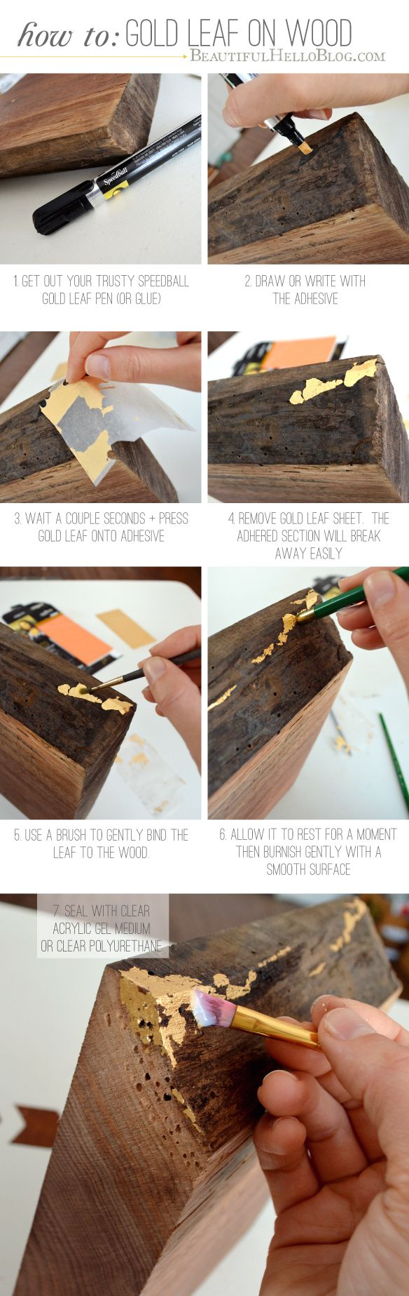 How to add gold leaf detailing to wood. Probably could use the same method on most surfaces. I want to use it on picture frame corners.